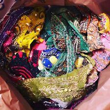 1 POUND 1 LB Vintage Boho Beaded Sari Scraps Craft Snippets