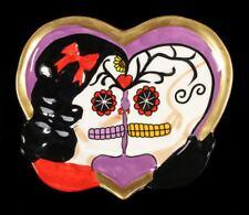 Corazón BOL- DAY OF THE DEAD calaveras Púrpura - Gothic Cuenco Regalo Deco