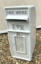 White Post Box Royal Mail Pillar Cast Iron Post Office - ER WHITE