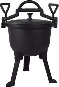4l Cast Iron Hunters Cauldron with Solid Cover - Grill BBQ Bonfire Camping Pot