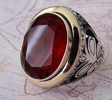 Turco otomano Rojo Rubí Piedra Preciosa sólido de plata esterlina 925 Anillo de hombre