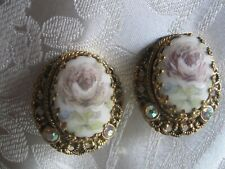 EXCEPTIONAL HAND PAINTED PORCELAIN CLIP EARRINGS WEST GERMANY AURORA BOREALIS