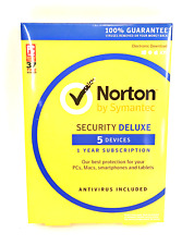 Norton Security Deluxe 5 Devices 1Year PC/Mac/Phone/Tablet  #6464
