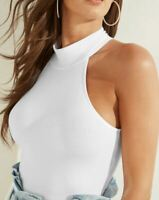 Guess Womens Tank Top White Size Small S Link Mock-Neck Bodysuit $39- 553