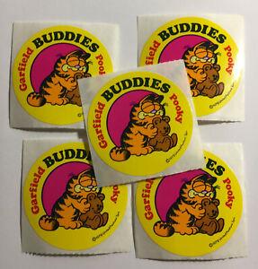 5 Garfield Pooky Buddies 1978 Vintage Stickers Teddy Bear