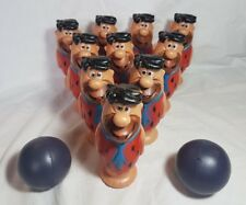 Vintage Fred Flintstone Ten Pin Bowling Set & Balls Hanna Barbera Toy