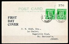 CHANNEL ISLANDS OCC. - 1941 1st DAY COVER POSTCARD *SIGNED* - 3 SCANS