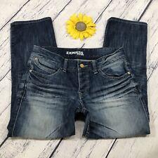 Express Cropped Capri Jeans Womens Size 4 Stretch Low Rise Blue Denim bt503