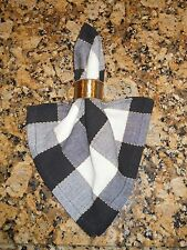 Park Designs Devon Rooster Black/Cream Plaid Napkin - Individually Sold  -  NEW