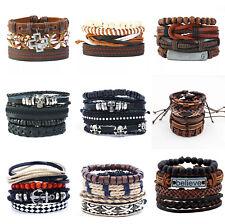 Leather Bracelet Handmade for Men Women Multilayer Wristband Bangle Wrap Set