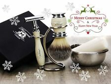 4 Pieces Men's Shaving Set In Ivory Color. Perfect Gift This Christmas For HIM