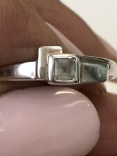 Ring 925 Sterling Silver Pale Blue Stone Vintage Very Cute