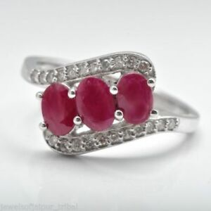 Oval Cut Natural Ruby Gemstone 925 Sterling Silver Three-stone Ring Size US 4-8