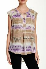 NEW Daniel Rainn Split Back Printed Sheer Panel Blouse Tan Purple Cap Sleeve M
