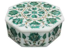 Marble Jewelry Box Malachite Stone Mosaic Floral Handmade Decor Best Gift H1888