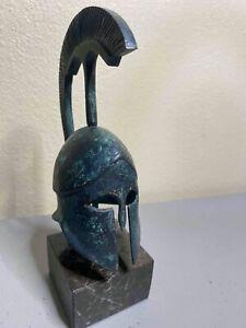 Ancient Greek Corinthian Helmet with Plume Bronze Statue Replica - Unique Piece