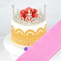 1pc Silicone Fondant Lace Mould Embosser Mat Cake Mold Sugarcraft Decor Tool