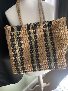 Newlook Tan Mix Straw Shoulder Bag Medium Size Holiday Beach Summer Boho Hippy