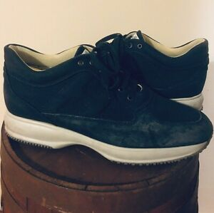 Hogan Interactive Men Navy Blue Leather/Suede Smart Trainers Shoes Size US 9.5