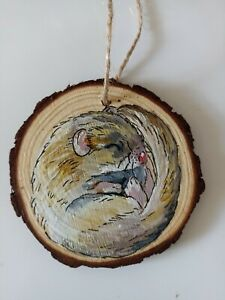 Handmade wooden gift ornament, gift tags, Christmas tree decorations, mouse