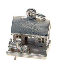 Sterling 925 British Made Solid Silver Charm Train in Station Moving Charm