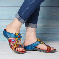 SOCOFY Women Bohemia Genuine Leather Shoes Splicing Floral Hook Loop   *