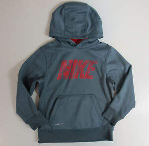 Nike Hoodie Boys Size Small Gray Red Therma-Fit Hooded Sweatshirt READ