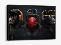 BANKSY 3 SWAG MONKEYS -DEEP FLOATER/FLOAT EFFECT FRAMED CANVAS WALL ART PRINT
