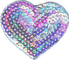HEARTS-MULTI-COLOR SEQUIN HEART -Iron On Embroidered Applique/Hearts, Valentines