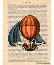 Hot Air Balloon Sailing Ship Art Print on Antique Book Page Vintage Illustration
