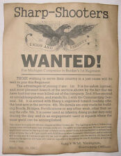 Civil War Recruiting Poster, Sharp-Shooters, Sharps Rifle, Union, wanted