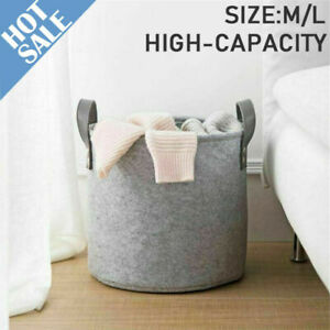 Large Grey Felt Storage Basket Bin With Handle Bedroom Closet Clothes Toy Box