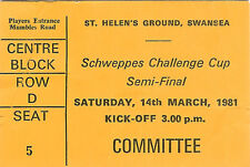 Bridgend v Llanelli Welsh Cup semi-final 14 Mar 1981 RUGBY TICKET