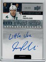 """2016-17 Upper Deck Premier Hockey Joe Pavelski Inked Script Auto """"LITTLE JOE"""""""