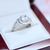 10k Real White Gold 2.75ct Round Cut Diamond Halo Engagement Wedding Ring