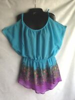 Derek Heart Chiffon Top Blouse Cold Shoulder Open Sleeve Size Large Turquoise
