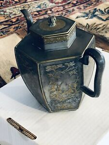 Antique Chinese Early 18th Century Pewter Tea Pot Hexagonal Shape & Birds Inlay