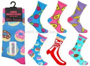 Single Pair Ladies Cotton Rich, Novelty, Food design socks,size 4-8,