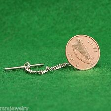 Tie Tack, Irish Celtic Harp Coin , Bronze Half Penny, Ireland Eire Lapel Pin