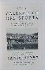 CALENDRIER DES SPORTS 1912,