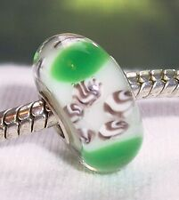 Green Brown Pattern Single Core Glass Bead for Silver European Charm Bracelets