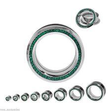 "PAIR-Crystal Green Gems Steel Screw On Tunnels 16mm/5/8"" Gauge Body Jewelry"
