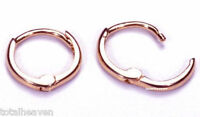 TINY 9mm Small Solid 14K Pink Rose Gold Huggies Thin BABY Hoop Earrings