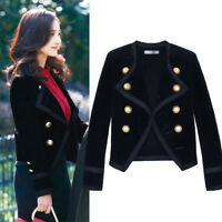 HOT Retro Womens Lapel Collar Blazer Velvet Slim Fit Business Suit OL Coat Top