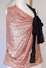 ROBERT RODRIGUEZ CHAMPAGNE PEACH SEQUINED CLUB SEXY SILK  TOP SZ 2 $275