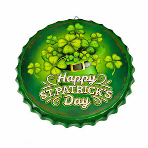 "Happy St. Patrick's Day Irish Shamrocks 13.75"" Round Metal Wall Hanging Sign"