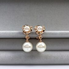 Clip on central mini pearl with little crystals drop pearl rose gold earrings