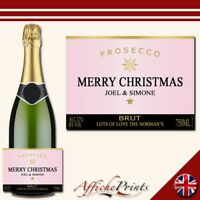 L85 Personalised Prosecco Rose Pink Christmas Brut Bottle Label - Perfect Gift!