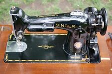 Black Singer 201-2 Sewing Machine with Cabinet and Attachements 1948 AH958167