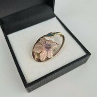 Vintage Fish And Crown Gold Tone Cloisonne Enamel Pink/Purple Lily Brooch